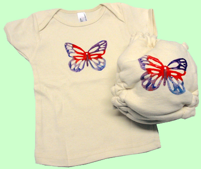 Large Butterfly Organic Diaper