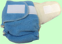 Large Blue Sherpa QD Diaper With Aplix
