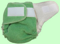 Medium Celadon Sherpa QD Diaper With Aplix