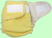 Medium Lemon Sherpa QD Diaper With Aplix