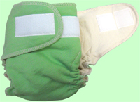 Large Spring Green Organic Cotton Diaper With Aplix