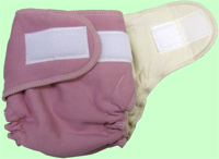 Large Rose Organic Cotton Diaper With Aplix