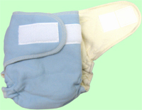 NB/SM Baby Blue Organic Cotton Diaper With Aplix