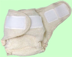 Large Natural Sherpa QD Diaper With Aplix